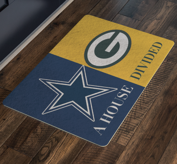 House Divided Man Cave Decor Packers Doormat - silverageproducts.com