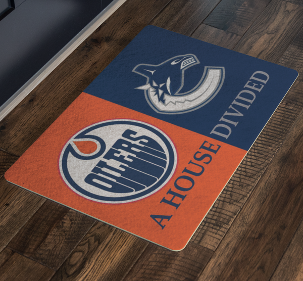 Oilers Canucks Doormat - silverageproducts.com