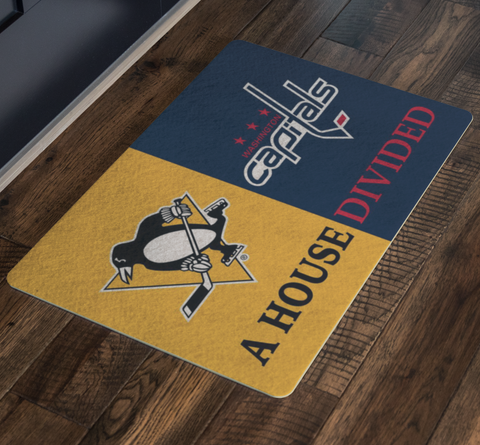 House Divided Man Cave Decor Pittsburgh Penguins Washington Capitals Doormat - silverageproducts.com