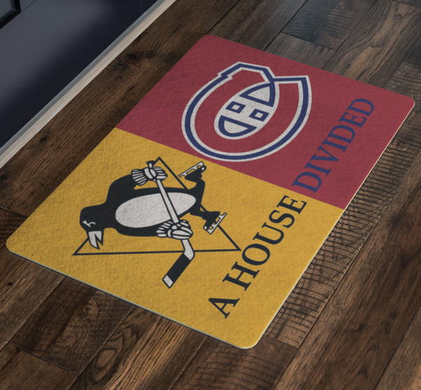 Pens Habs House Divided Doormat - silverageproducts.com