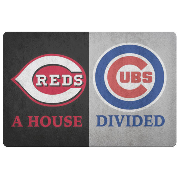 House Divided Man Cave Decor Cubs and Cincinnati Reds Doormat - silverageproducts.com