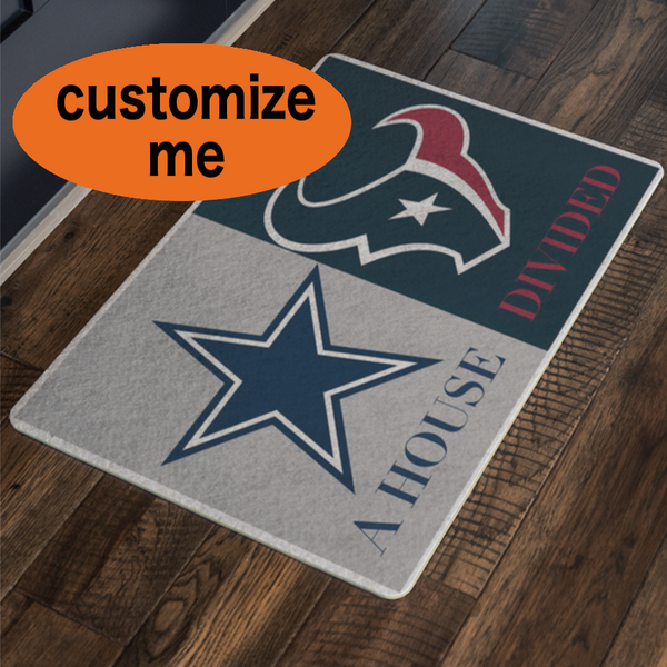 House Divided Dallas Cowboys Houston Texans Decor Welcome Mat Football Personalized Doormat - silverageproducts.com
