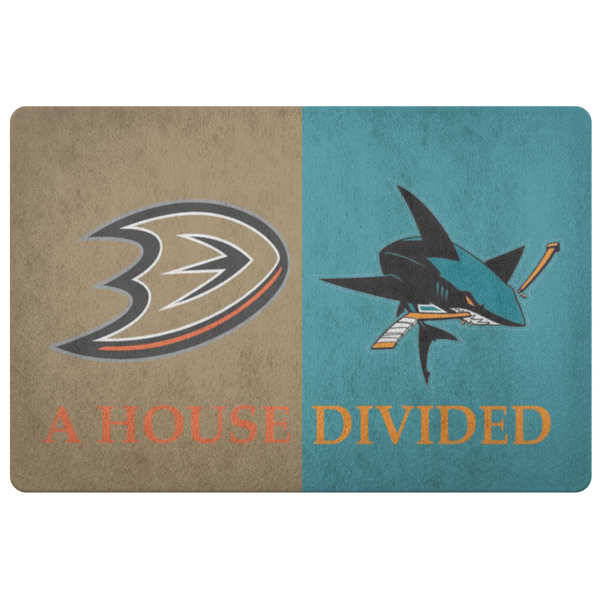 Ducks Sharks House Divided Custom Doormat - silverageproducts.com