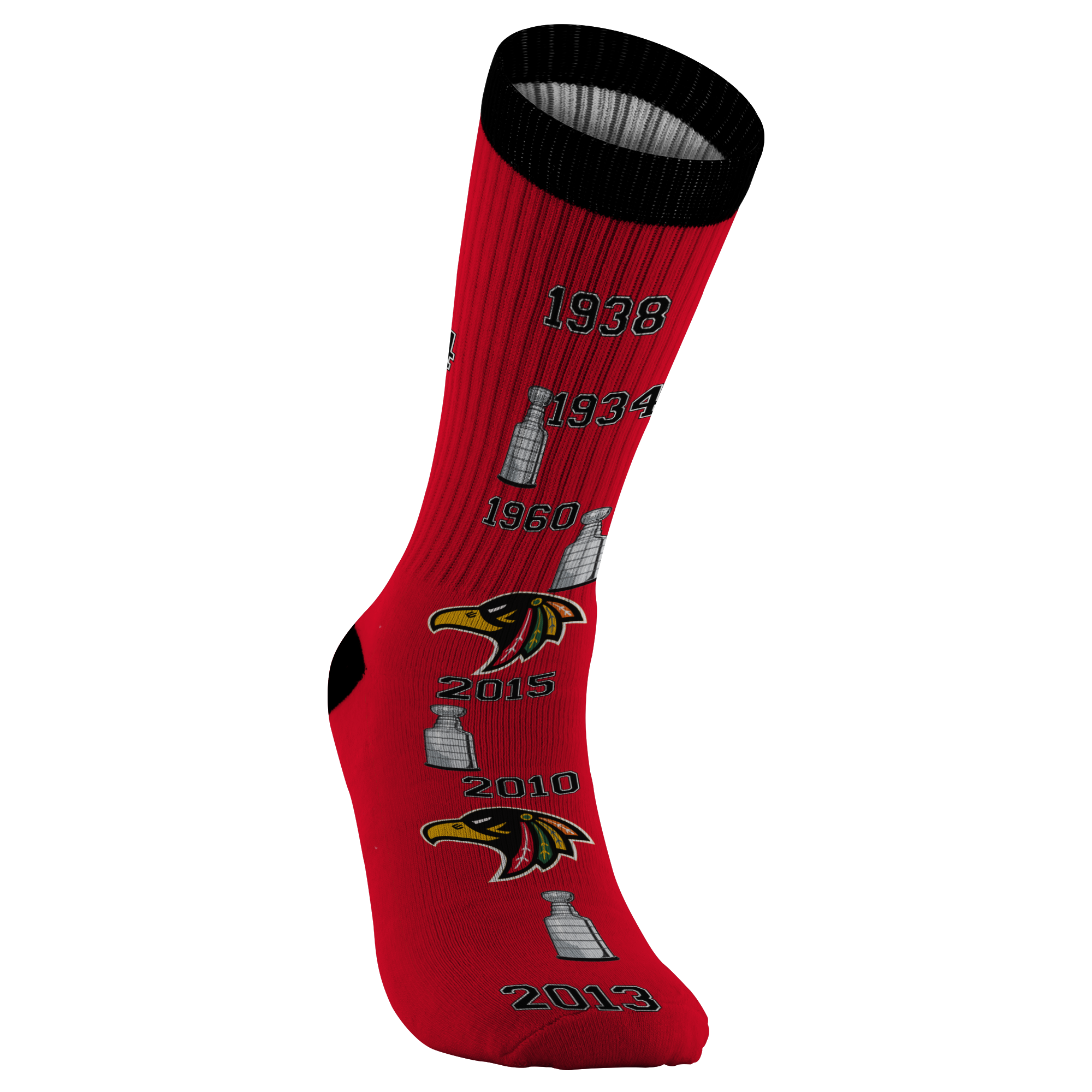 Chicago Black Hawks NHL Printed Sock - silverageproducts.com