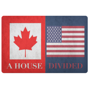 Canada USA Flag House Divided Housewarming Doormat - silverageproducts.com