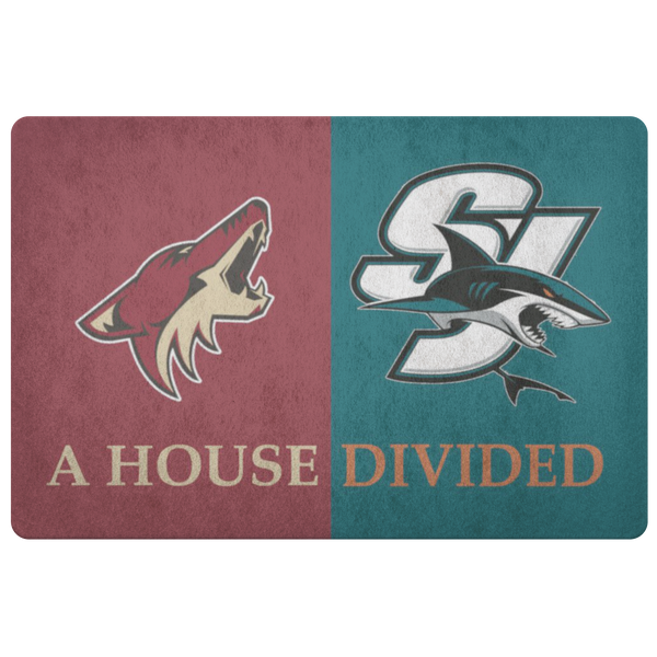 San Jose Sharks Arizona Coyotes Welcome Doormat Man Cave Decor - silverageproducts.com