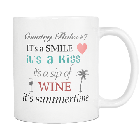 Country Rules Kenny Chesney Summertime Music Lyric Mug - silverageproducts.com