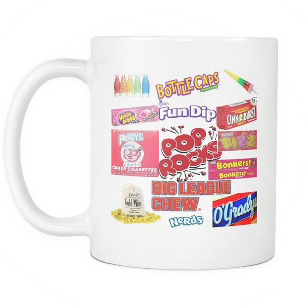 Nostalgia Mug Junkfood Coffee Mug 80's Mug Eighties Mug Vintage Aging Humor Retro Coffee Cup Nostagic Junk Food 80's Candy Addict - silverageproducts.com