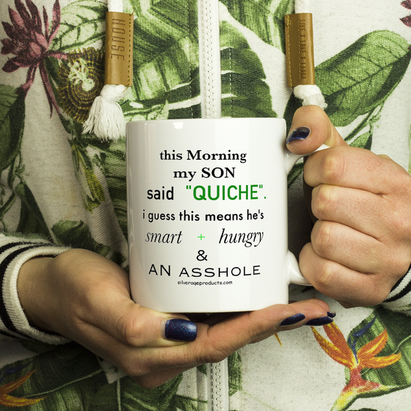 Ryan Parenthood Quite Quiche Coffee Mug - My Son Version Aging Humor - silverageproducts.com