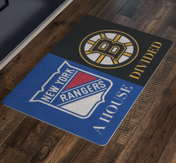 House Divided EntryWay Doormat Porch Hockey Fan Rug