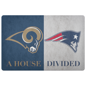 New England Patriots LA Rams Welcome Doormat House Divided - silverageproducts.com