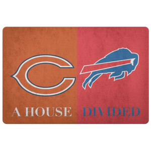 House Divided Man Cave Decor Bears Bills Doormat - silverageproducts.com