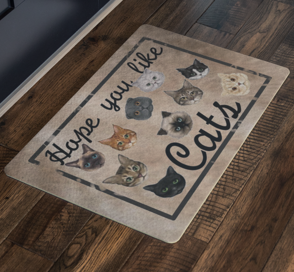 Crazy Cat Lady Doormat Hope You Like Cats Rug - silverageproducts.com