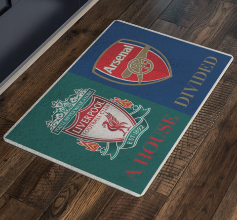 House Divided Soccer Futbol Man Cave Decor Liverpool Arsenal FC Doormat - silverageproducts.com