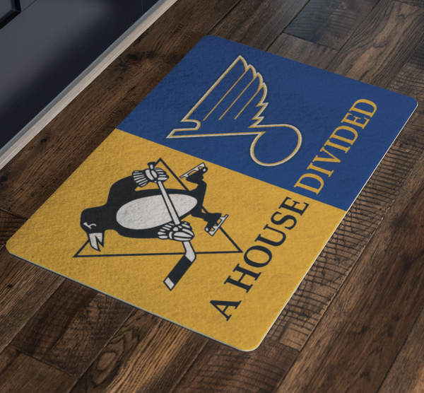 House Divided Man Cave Pengiuns Blues Doormat - silverageproducts.com