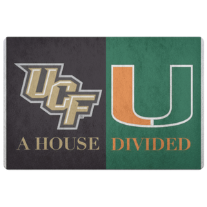 House Divided Man Cave Decor Florida University Miami Doormat - silverageproducts.com
