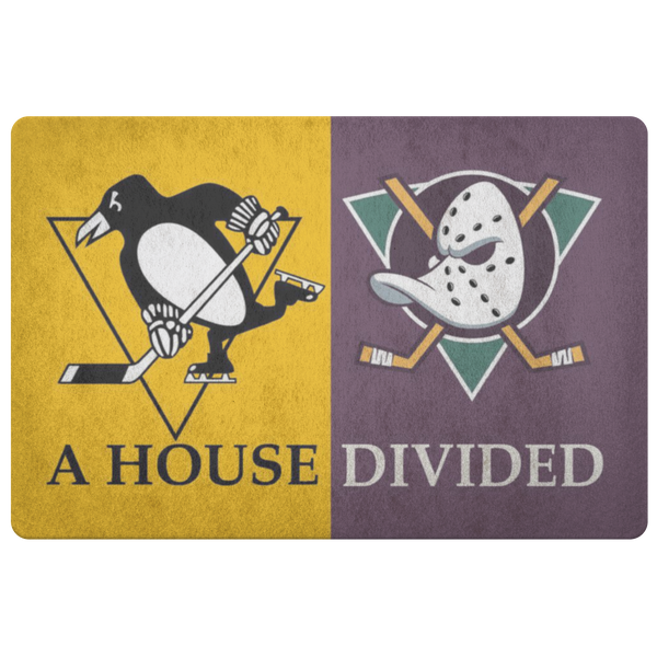 Ducks Penguins House Divided Doormat - silverageproducts.com