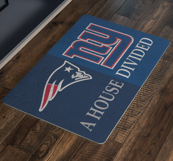 NY Giants New England Patriots Doormat Welcome Mat - silverageproducts.com