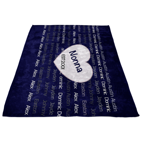 Nonna 2001 family custom fleece blanket - silverageproducts.com