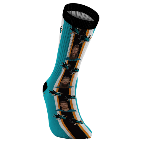 San Jose Sharks Hockey SJ Sharks Shirt Joe Thornton Brent Burns NHL Hockey Socks Hockey NHL Fan Gift Hockey Fan Custom Socks Personalized - silverageproducts.com