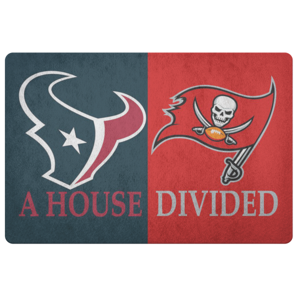 Buccaneers Texans Doormat House Divided - silverageproducts.com