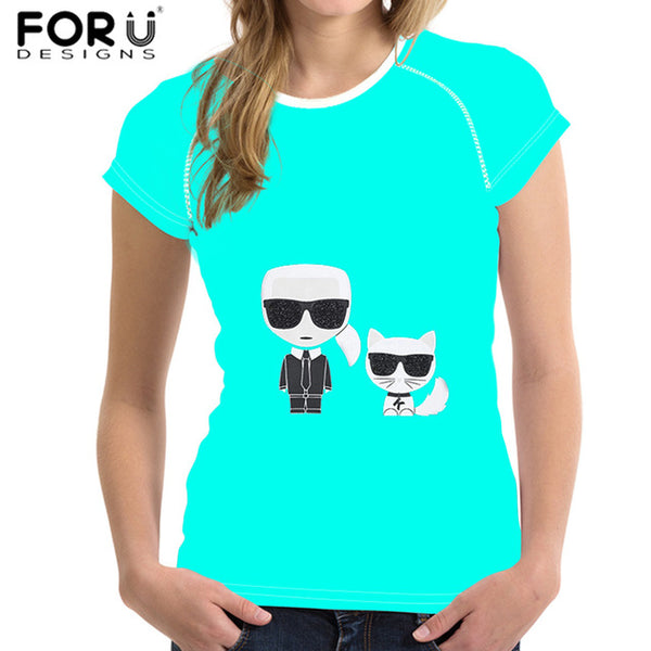 Karl Lagerfeld Print Pattern Women TShirt Female Short Sleeves Comfortable Clothes for Ladies camisa feminina - silverageproducts.com