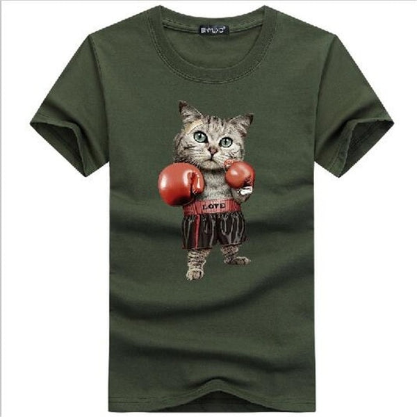 BINYUXD Men's O Neck Cotton Short Sleeve Lovely Boxinger Cat T-shirts Funny CAT Animal Men's Customized T Shirts Birthday Gift - silverageproducts.com