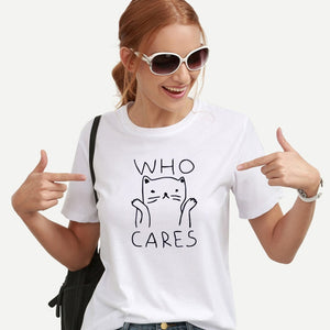 OLN Cat Graphic Crazy Cat Lady Cat Mom Tees Who Cares Women Funny T shirts Women Summer Vintage Tee Shirt Femme Kawaii Black White Tshirts Cotton Women Top - silverageproducts.com