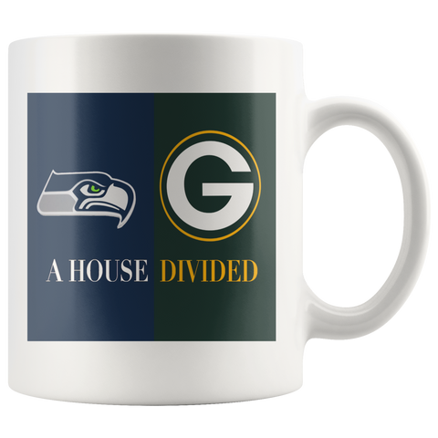 Seattle Seahawks Green Bay Packers House Divided Sport Coffee Mug - silverageproducts.com