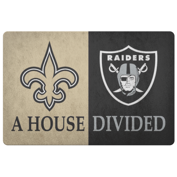 Raiders Saints House Divided Doormat - silverageproducts.com