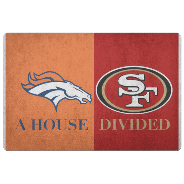 House Divided Rug Broncos 49ers Doormat - silverageproducts.com
