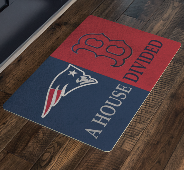 House Divided Man Cave Decor Red Sox New England Patriots Welcome Doormat - silverageproducts.com
