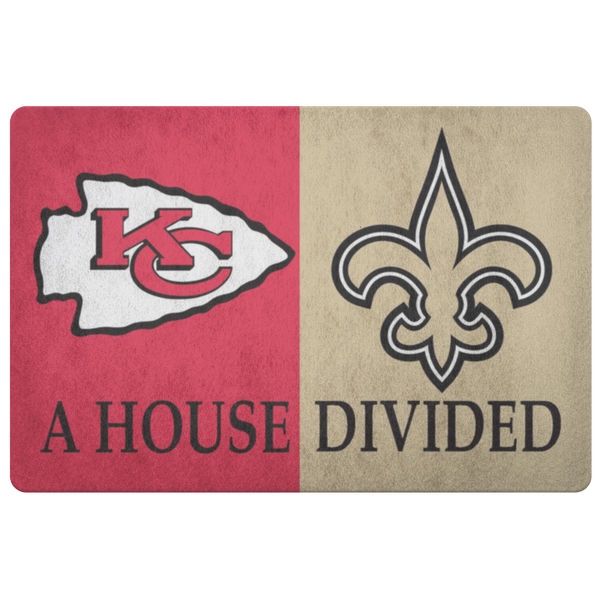 Kansas City Chiefs New Orleans Saints Football Doormat - silverageproducts.com