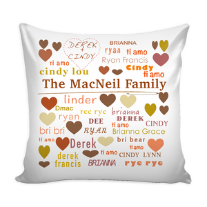 Custom Personalized Family Pillow Cover - silverageproducts.com