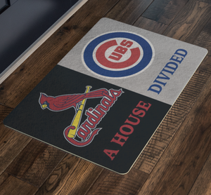 St Louis Cardinals Chicago Cubs House Divided Custom Doormat - silverageproducts.com