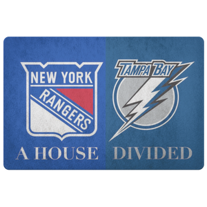 Tampa NY Rangers House Divided Doormat - silverageproducts.com