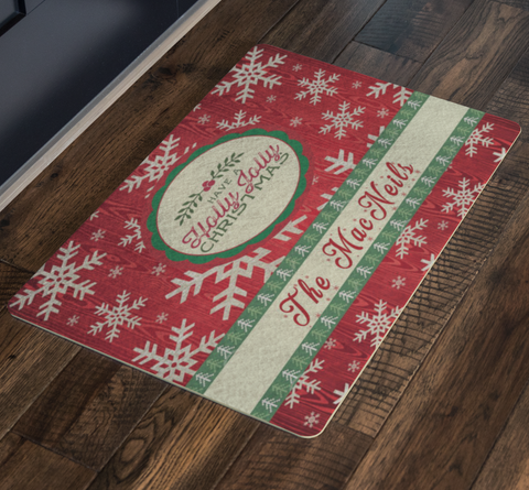 Christmas Holiday Custom Family Welcome Doormat - silverageproducts.com
