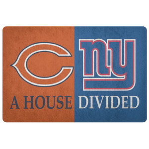 House Divided Man Cave Decor Bears NY Giants Doormat - silverageproducts.com