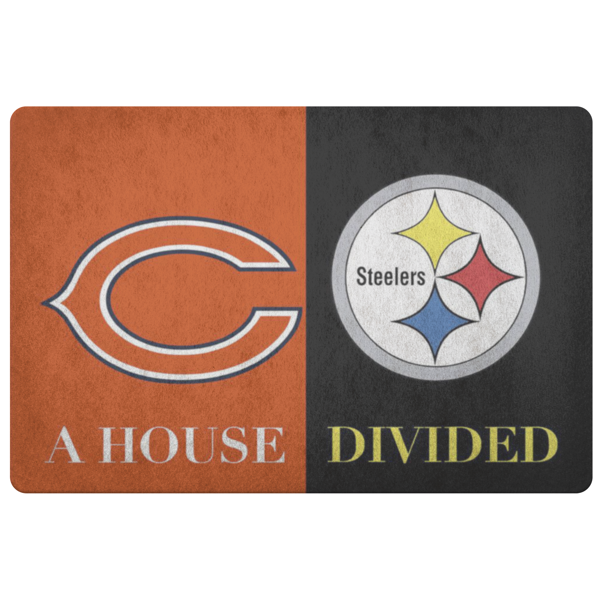 House Divided Man Cave Decor Steelers Doormat - silverageproducts.com