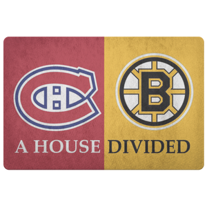 House Divided Man Cave Decor Bruins Montreal Canadiens Doormat - silverageproducts.com
