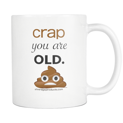 Poop Emoji Nostalgia Dad Jokes Coffee Mug Old AF Aging Humor - silverageproducts.com
