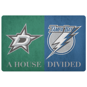 Tampa Bay Dallas Stars House DIvided Doormat - silverageproducts.com