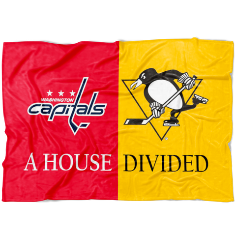 Penguins Capitals House Divided Family Fleece Blanket - silverageproducts.com