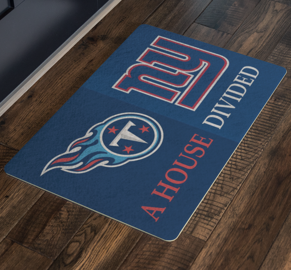 NY Giants Tennessee Titans House Divided Welcome Porch Doormat - silverageproducts.com