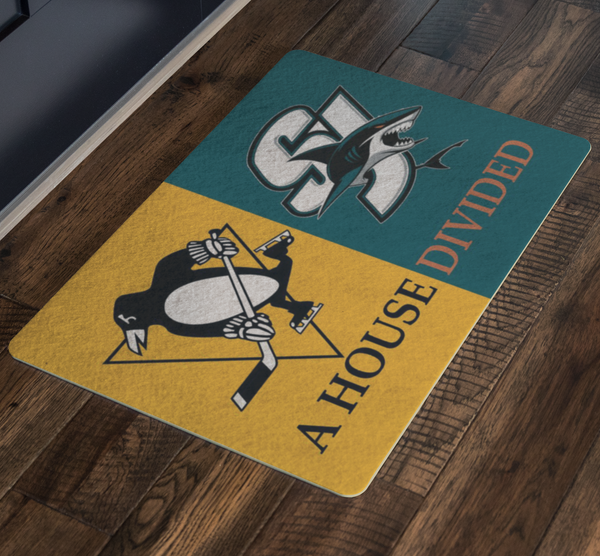 San Jose Sharks Pittsburgh Penguins Doormat - silverageproducts.com
