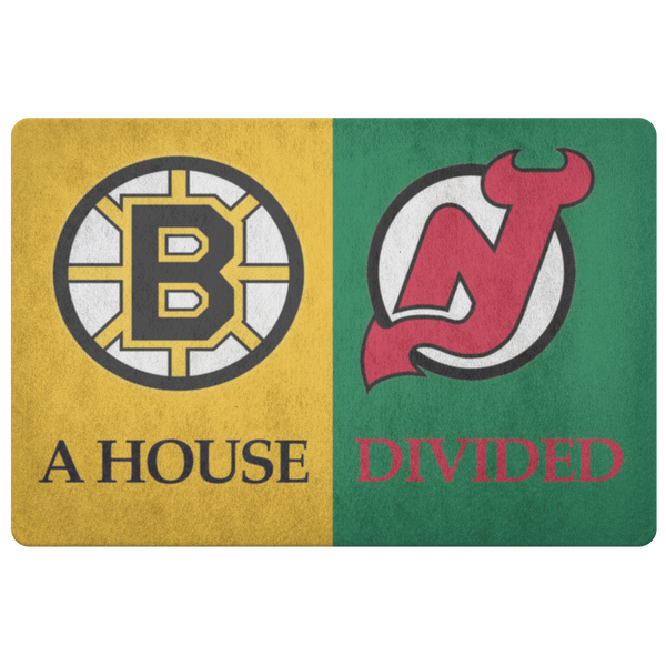 House Divided Man Cave Decor Bruins New Jersey Devils Hockey Doormat - silverageproducts.com