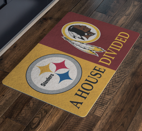 Redskins Steelers Welcome Doormat House Divided - silverageproducts.com