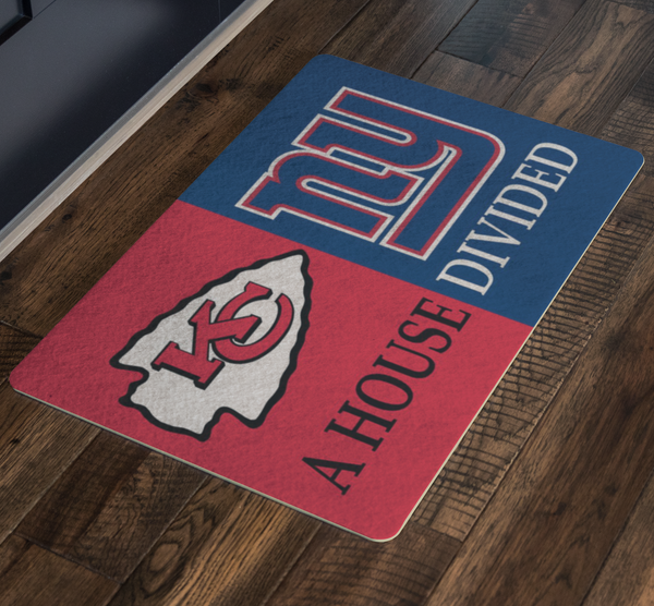 Kansas City Chiefs New York Giants Welcome Doormat - silverageproducts.com