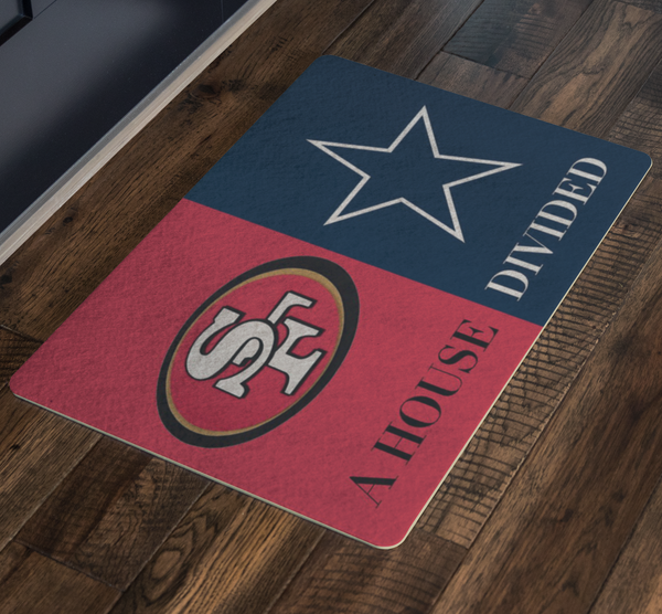 A House Divided Front Porch Rug Welcome Doormat Cowboys 49ers - silverageproducts.com