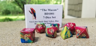 BrycesDice The Macaw Red/Yellow/Blue with Gold Numbers Dice - Set of 7